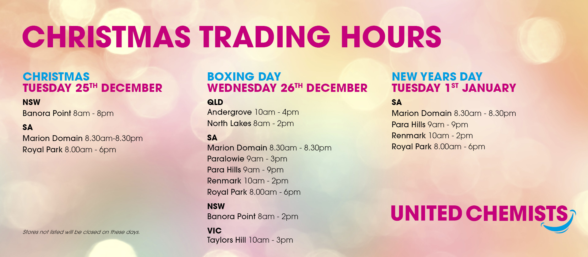http://www.unitedchemists.net.au/libraries/images/catalogue-banners/Dec 2018 Holiday hours.jpg